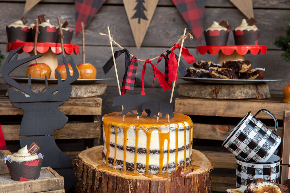 Naked Chocolate Cake with Caramel Drizzle, Camping Party Cake Topper, buffalo plaid cake bunting