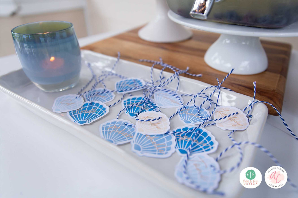 seashell drink tags, cocktail tags, drink name tags, personalized drink tags