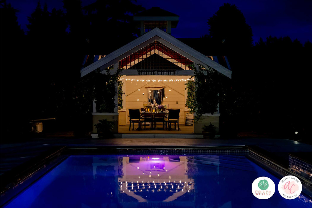 pool party, outdoor entertaining, gazebo lights