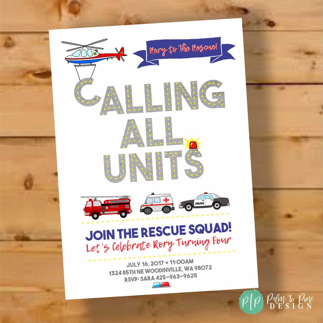 Emergency Vehicle Rescue Party, Boys Birthday Invite