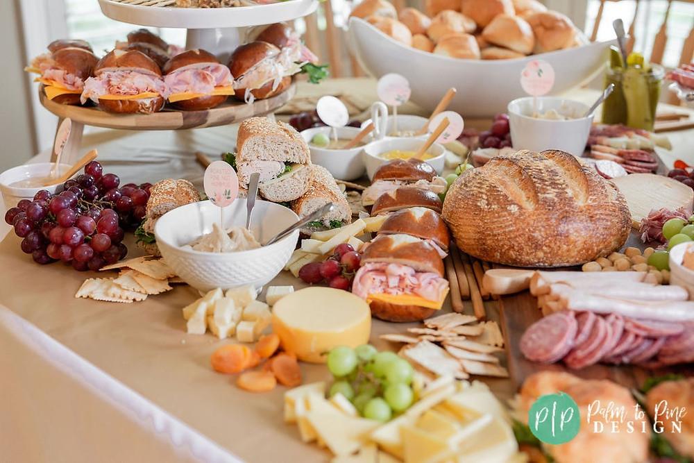 sandwich board party food