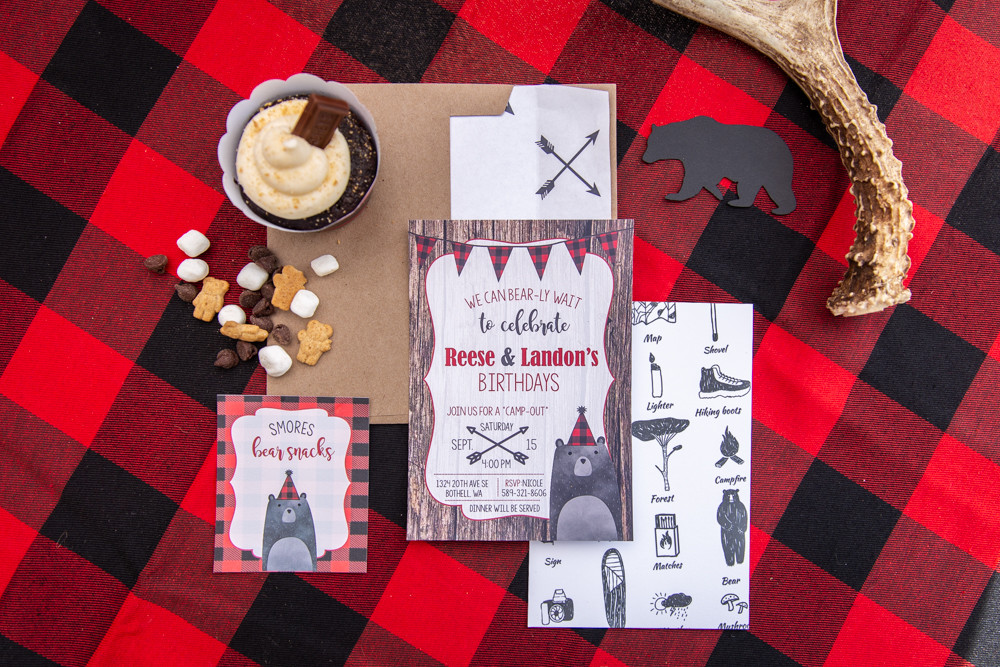 lumberjack camping birthday party invites and decorations