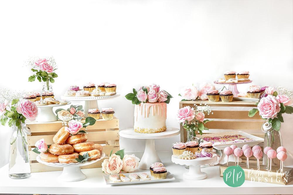 blush pink floral dessert table