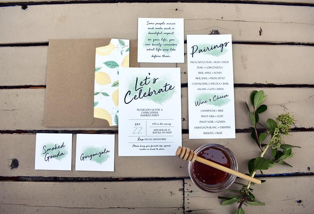 Modern Green Watercolor invitation suite
