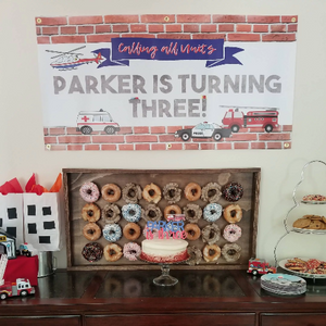 Emergency Vehicles Birthday Banner, Firefighter Party Decor,