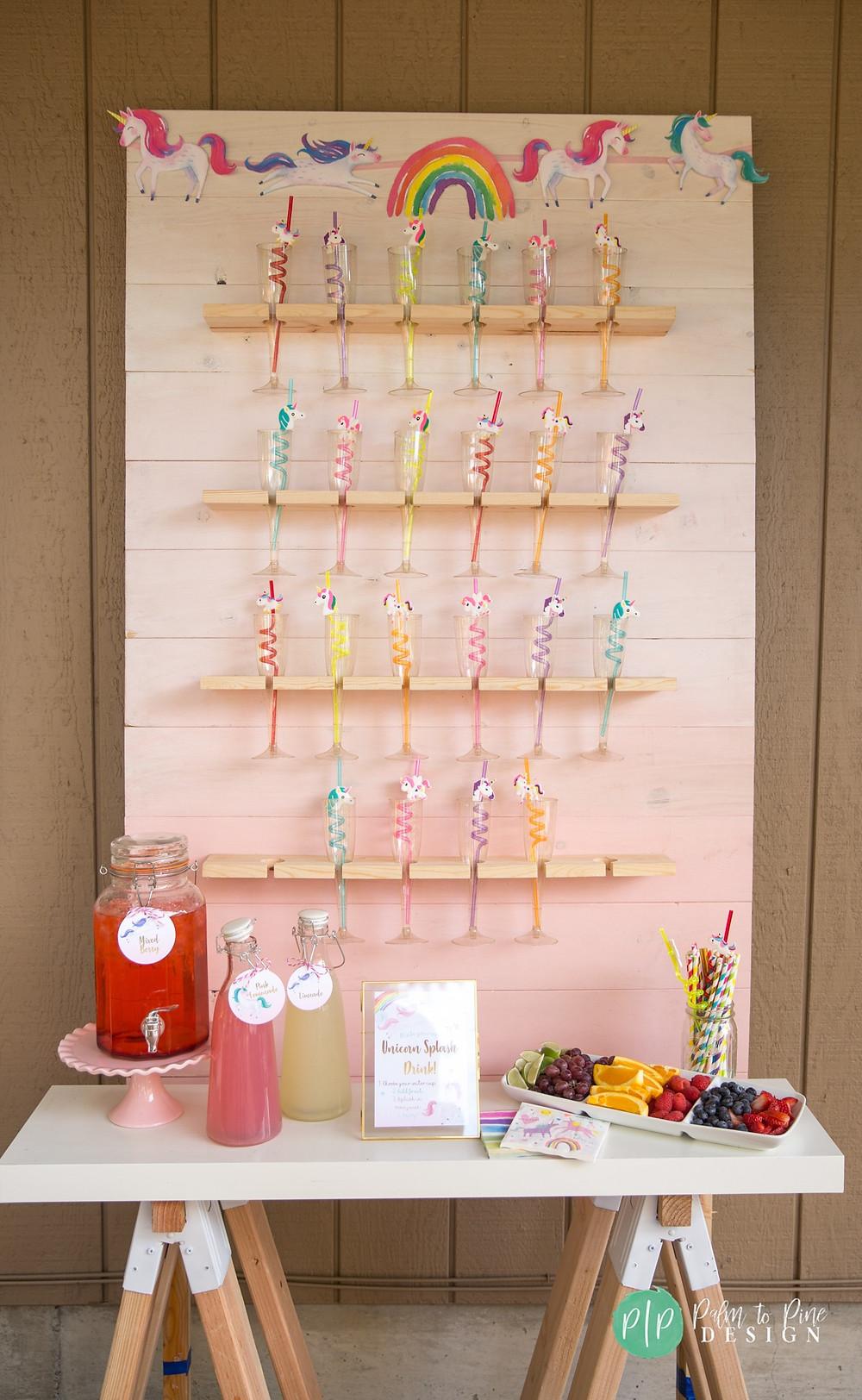 unicorn birthday drink ideas, champagne wall