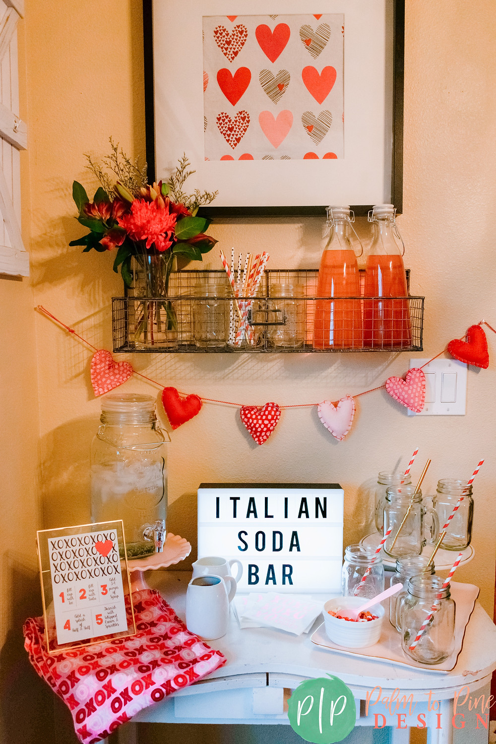 Italian Soda Bar for a Valentine's Party