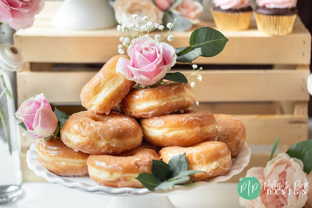 flower donut tower, bridal shower desserts