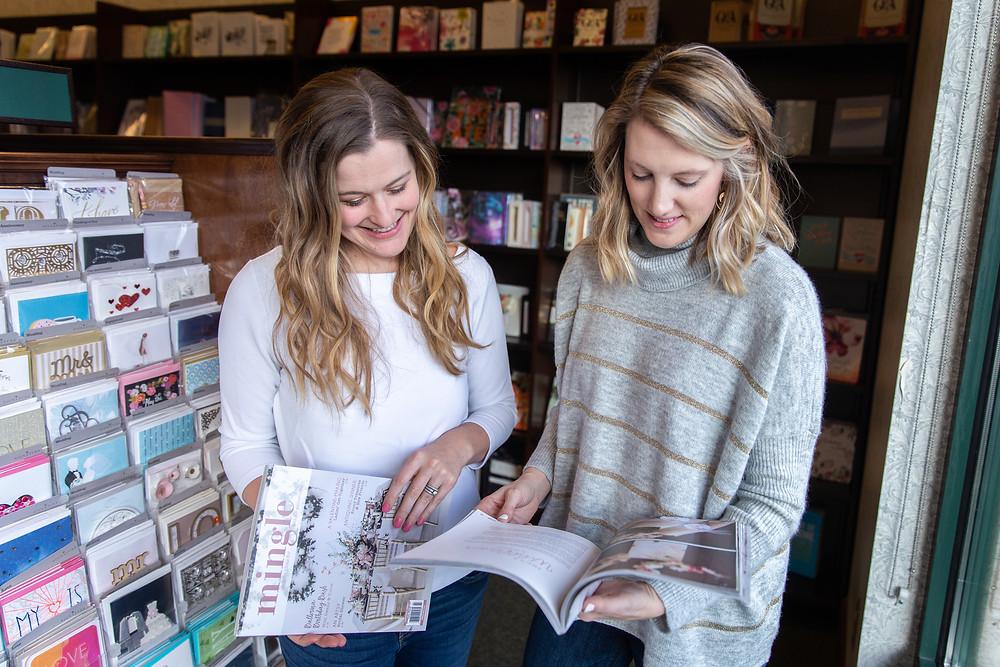 reading mingle magazine in the bookstore