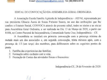 1ª Assembleia da Associação Escola Família Agrícola de Independência - AEFAI
