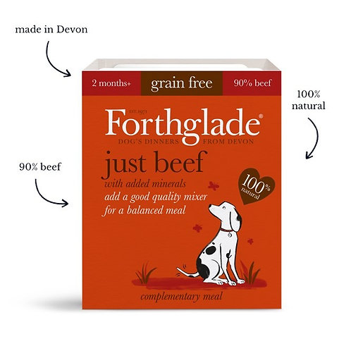 Forthglade just beef dog food (395g) (Box of 18)