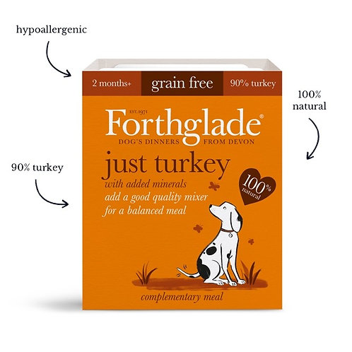 Forthglade just turkey dog food (395g) (Box of 18)
