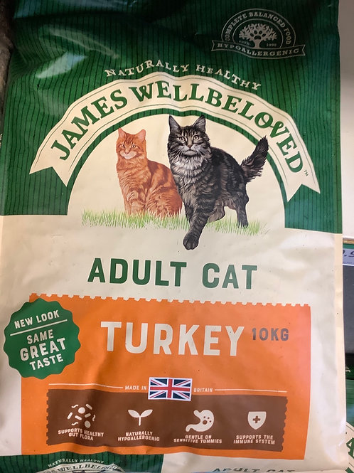 James Wellbeloved Complete Adult Turkey Dry Cat Food 10kg