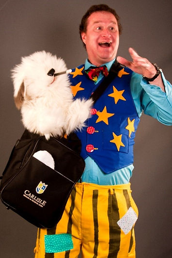 carl dog.jpg   Top Children's Birthday Party Entertainer  Carl John the Magic Man Cardiff South wales and kid's magician, vale of Glamorgan Party entertainment, comedy magic balloon modelling puppets circus workshops party games and party games puppet shows.
