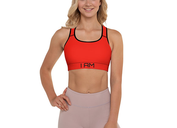 Red I Am Strong Padded Sports Top