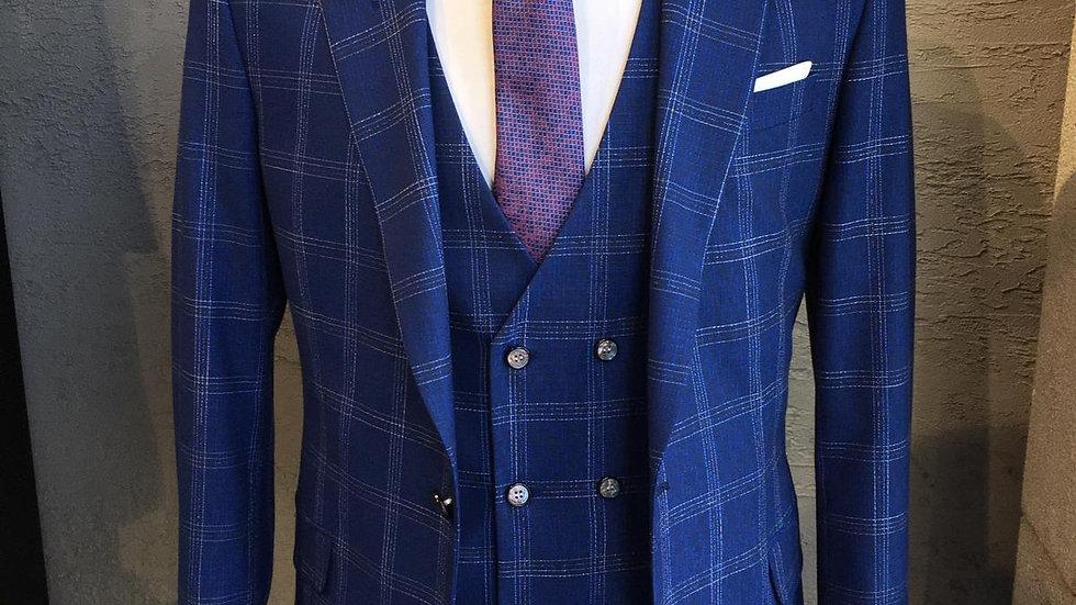 Serie de 6 vestes 2 pieces Bleu carreaux