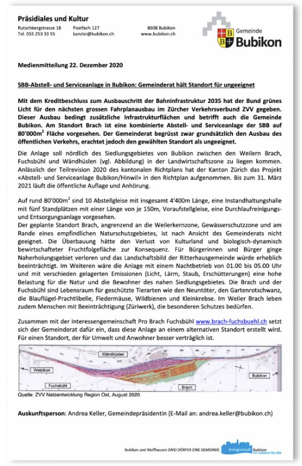 Medienmitteilung Gemeinde Bubikon zur SBB Anlage. Warum der Gemeinderat den Standort Brach als ungeeignet sieht.