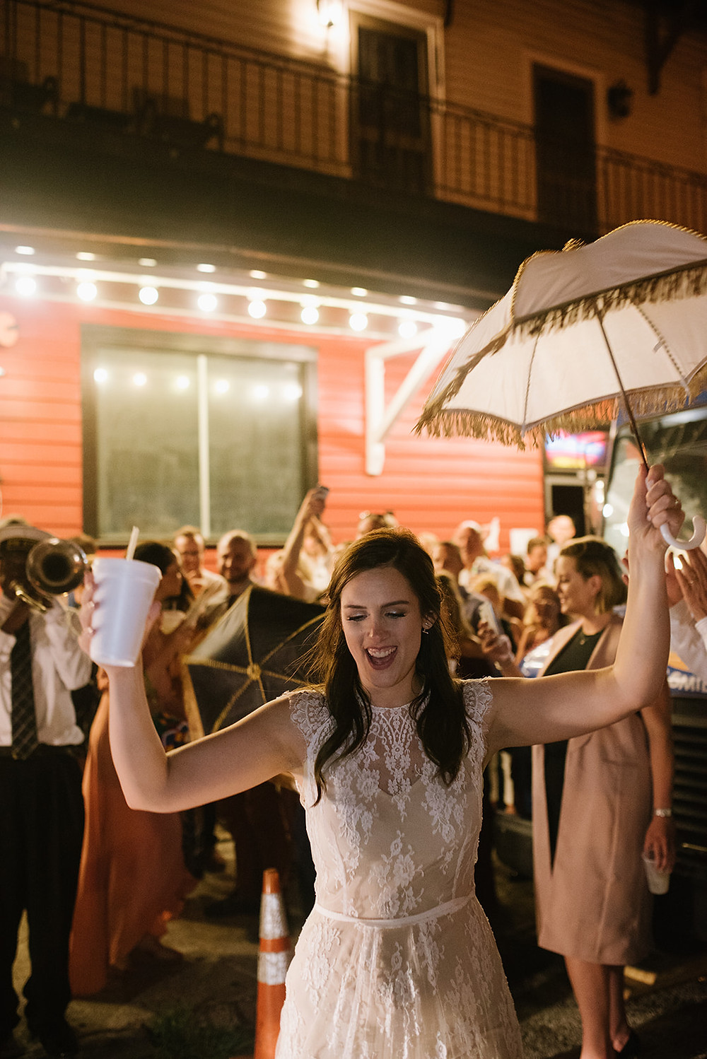 Lindsey & Alex | New Orleans Wedding with Lauren Carroll Photography at Rusty Nail and Lovegood Wedding & Event Rentals / Vintage Rentals, Garden Bisrto Chairs, Ceremony, Reception at Famous New Orleans Bar, Lounge Space, Highboys, Secondline Band