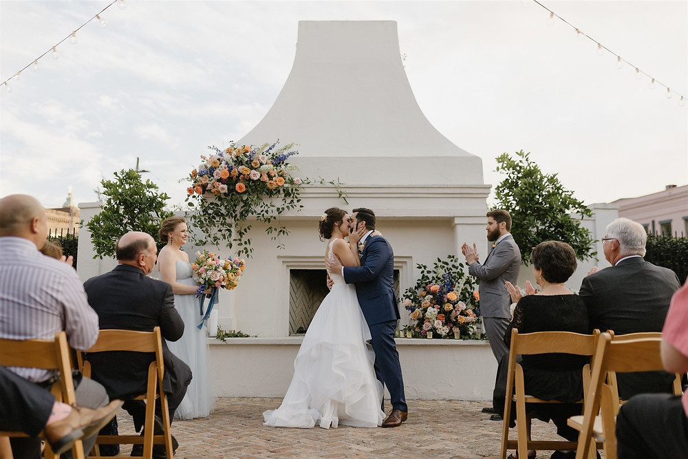 Colorful New Orleans Wedding at Il Mercato with September Company, Mise En Place Events, Antigua Floral, and Lovegood Wedding & Event Rentals | Vintage Decor and Furniture for Hire in New Orleans and Southeast for Weddings, Social Gatherings, and Corporate Events