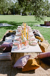 Nola Picnics with low white hairpin tables, jute rugs, assorted pillows and poufs in white, pink, patterns, black, and whites. Table covered in candles, bamboo plates, escort card bottles, fans with tassels at the ends. charcuterie board down the whole table with cheeses, breads, fruits, and veggies