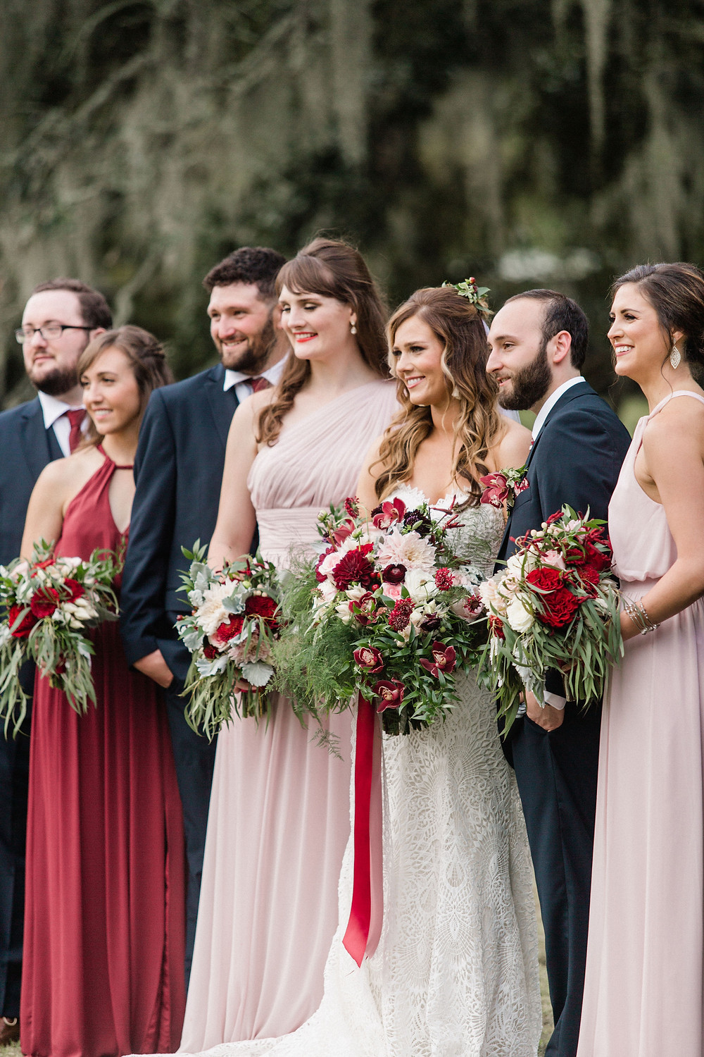 Chicory Wedding in New Orleans with Tasha Rae Photography, Mise En Place Events, Lovegood Wedding & Event Rentals | Cranberry Wedding, Vintage Rentals, Lounge Space, Wooden Backdrop Arbor, Wooden Crates, Bridal Party