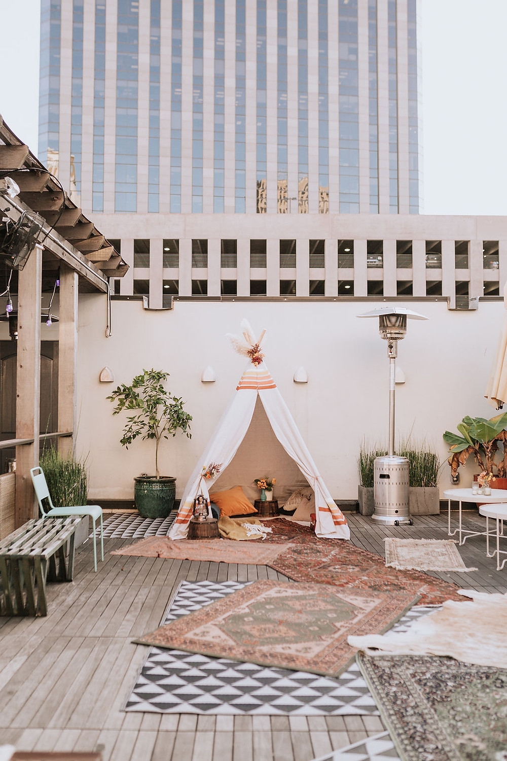 Dashing Darling Birthday | Bohemian, New Orleans Style Celebration at Catahoula Hotel with Alyssa Fisher Photography, It's a Nice Day, and Lovegood Wedding & Event Rentals | Boho, Vintage Rentals, Wicker Chairs, Tipi, Rugs, Poufs, Flower Power, Macrame Details