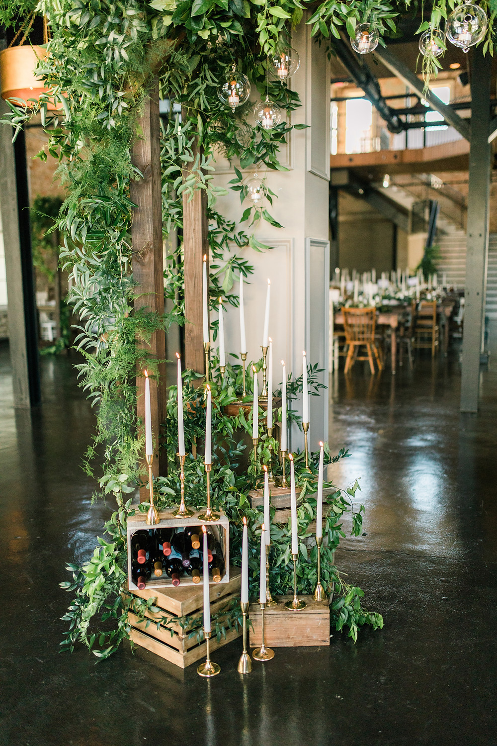 Hattiesburg Rehearsal Dinner at The Bottling Company with Blooms, Angela Marie Events, and Lovegood Wedding & Event Rentals