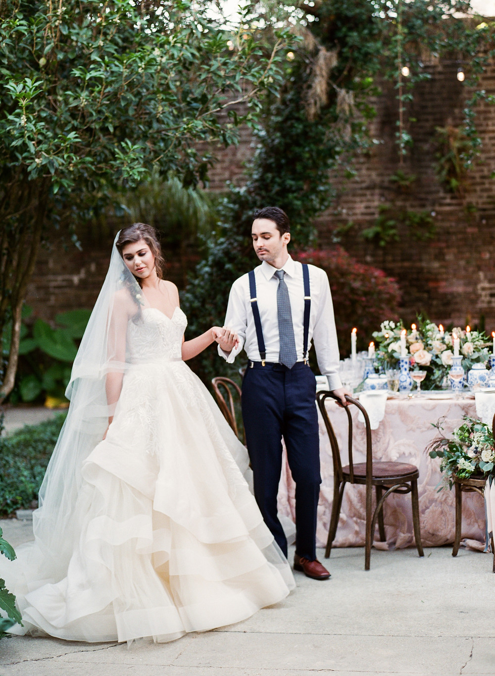 Lush Courtyard Inspiration | Monastery Style Shoot with Catherine Guidry Photography, Blue Gardenia Events, Root Floral Design, and Lovegood Wedding & Event Rentals