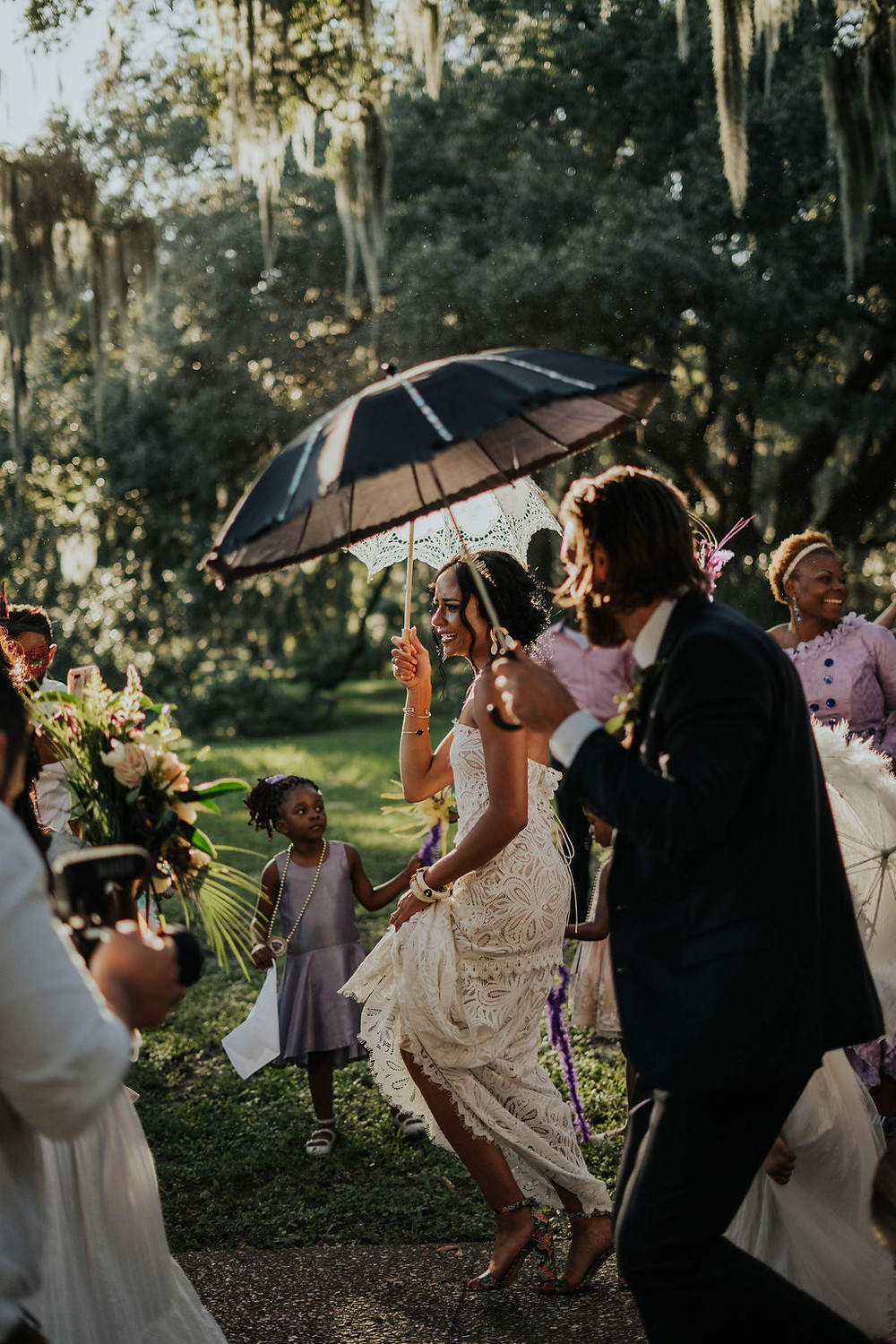 City Park Wedding with Sculpted Films and Lovegood Wedding & Event Rentals in New Orleans, Louisiana with Mismatched Chairs | Vintage Rentals with Rustic, Boho Details