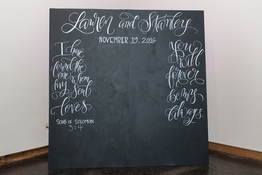 Lauren & Stanley | Laurel, Mississippi Wedding | The Gables | Lindsay Vallas Photography | Lovegood Wedding & Event Rentals | Chalkboard Backdrop