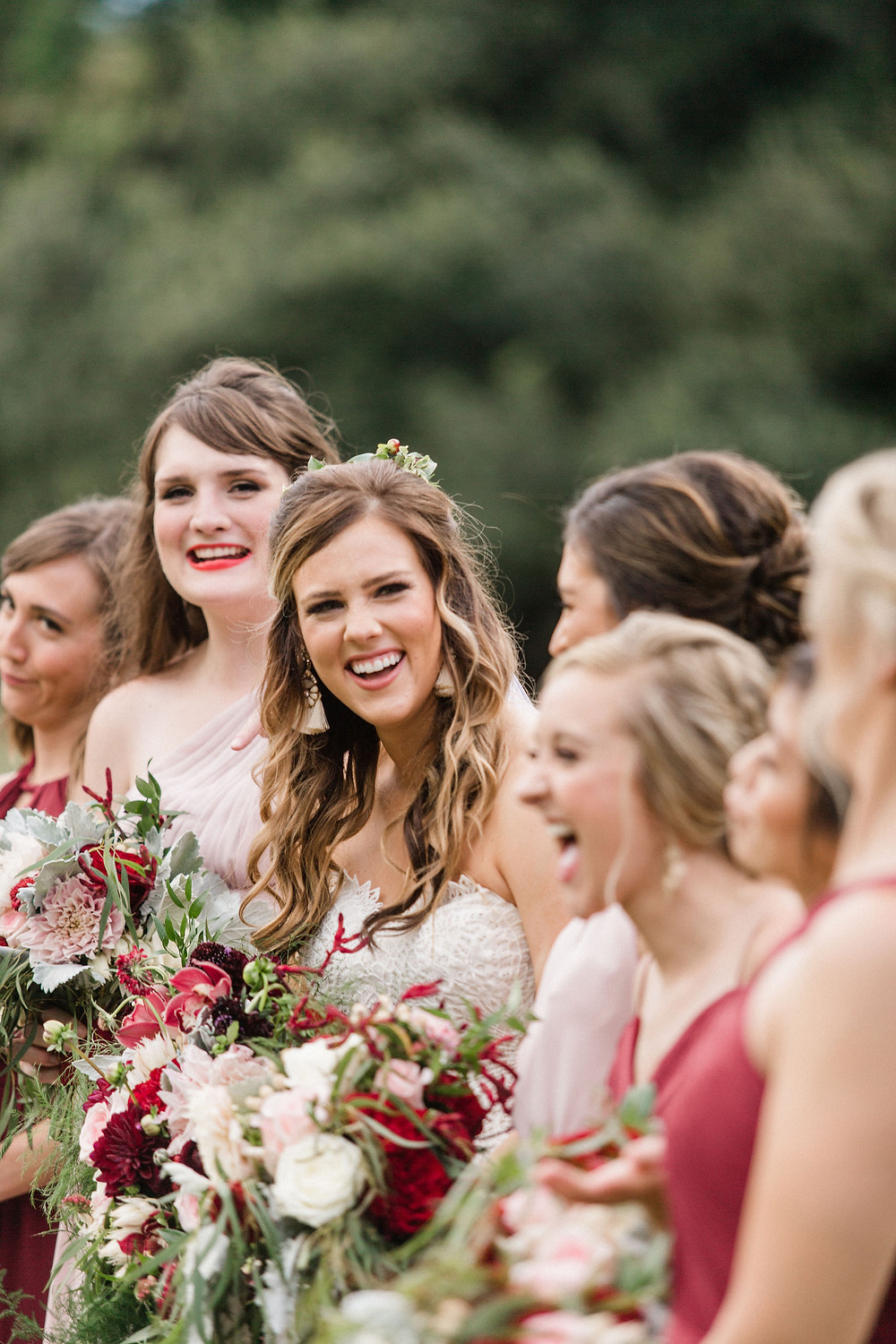 Chicory Wedding in New Orleans with Tasha Rae Photography, Mise En Place Events, Lovegood Wedding & Event Rentals | Cranberry Wedding, Vintage Rentals, Lounge Space, Wooden Backdrop Arbor, Wooden Crates, Bride and Bridesmaids