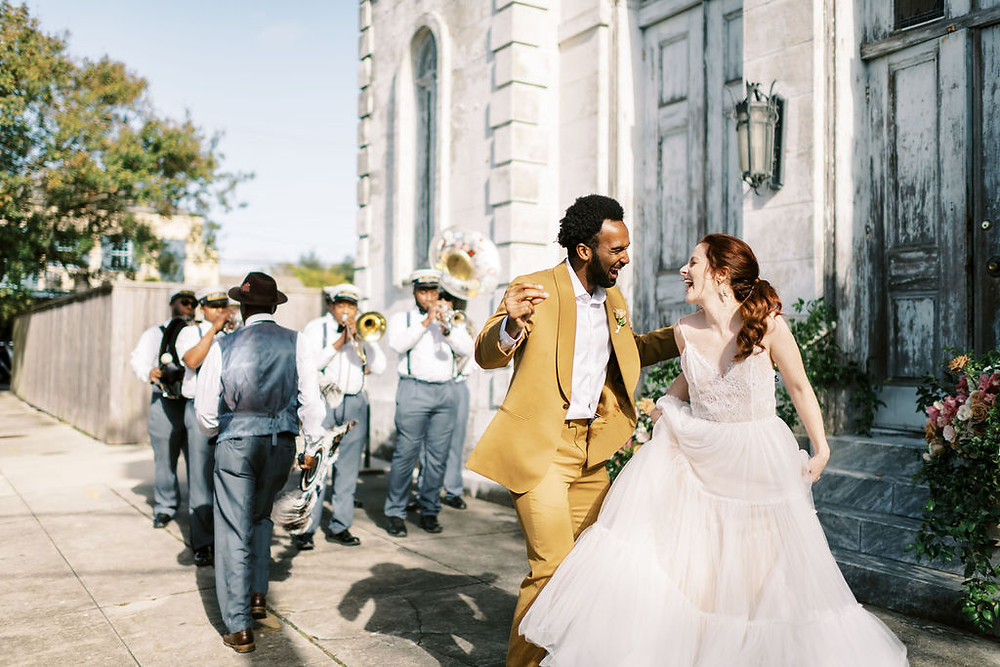 Bride, Groom, and Second Line Bar for Bridgerton Inspired Wedding at the Marigny Opera House in New Orleans with Lounge Spaces and Vintage Furniture by Lovegood Rentals