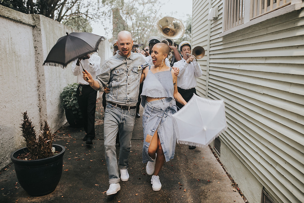Bride and Groom Dressed in All Denim with Eclectic Details, Van Sneakers, and an Overall Bridal Party | Lovegood Wedding & Event Rentals | New Orleans Vintage Rental Company for Corporate, Parties, and Weddings | Lounge Furniture in NOLA, Specialty Rentals, Decor across the Southeast