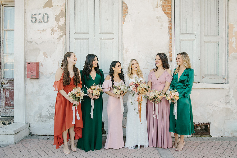 Race & Religious Wedding in New Orleans with Yellow, Pink, and Green Palette with Lovegood Rentals | Race & Religious Wedding in New Orleans with Yellow, Pink, and Green Palette with Lovegood Rentals | Classic Farm Tables, Mismatched Chairs | Bridesmaids