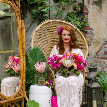 Tropical Bridal Brunch at Race & Religious | Sarah Becker Photography, Antigue Florals, Logan Do