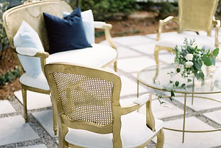 Settee, Matching Gold Chairs, Outdoors, Glass Coffee Table, Velvet Pillows