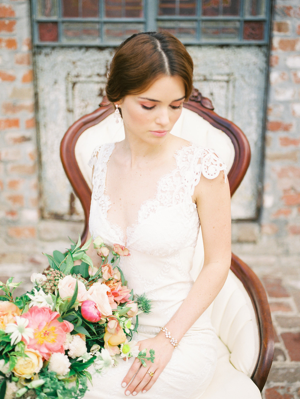 Bridal Shoot with Sophie Kaye Photography, Sapphire Events, The Petaler Co. and Lovegood Wedding & Event Rentals at Race & Religious | Vintage Furniture for New Orleans Events and Weddings
