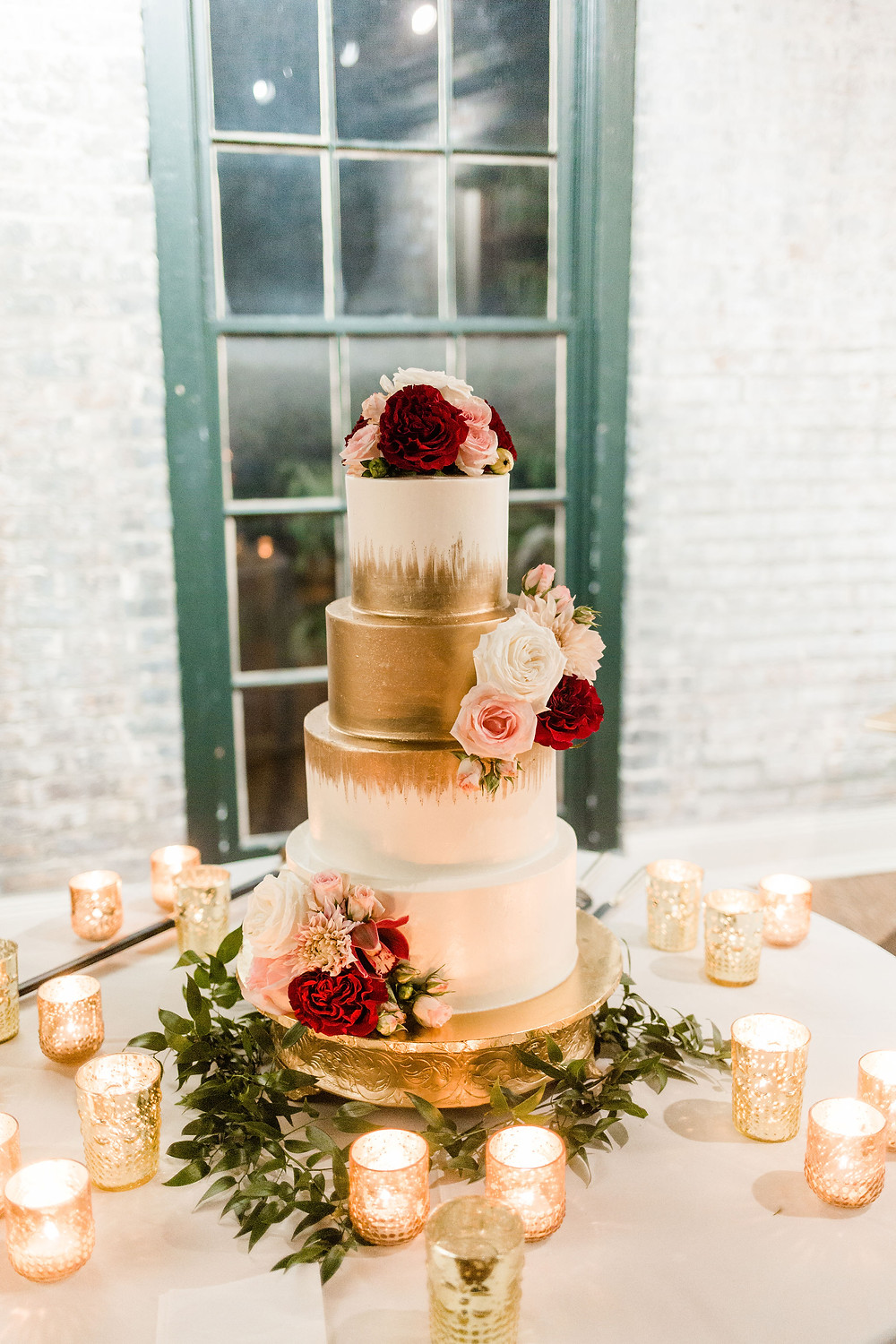 Chicory Wedding in New Orleans with Tasha Rae Photography, Mise En Place Events, Lovegood Wedding & Event Rentals | Cranberry Wedding, Vintage Rentals, Lounge Space, Wooden Backdrop Arbor, Wooden Crates, Gold Wedding Cake