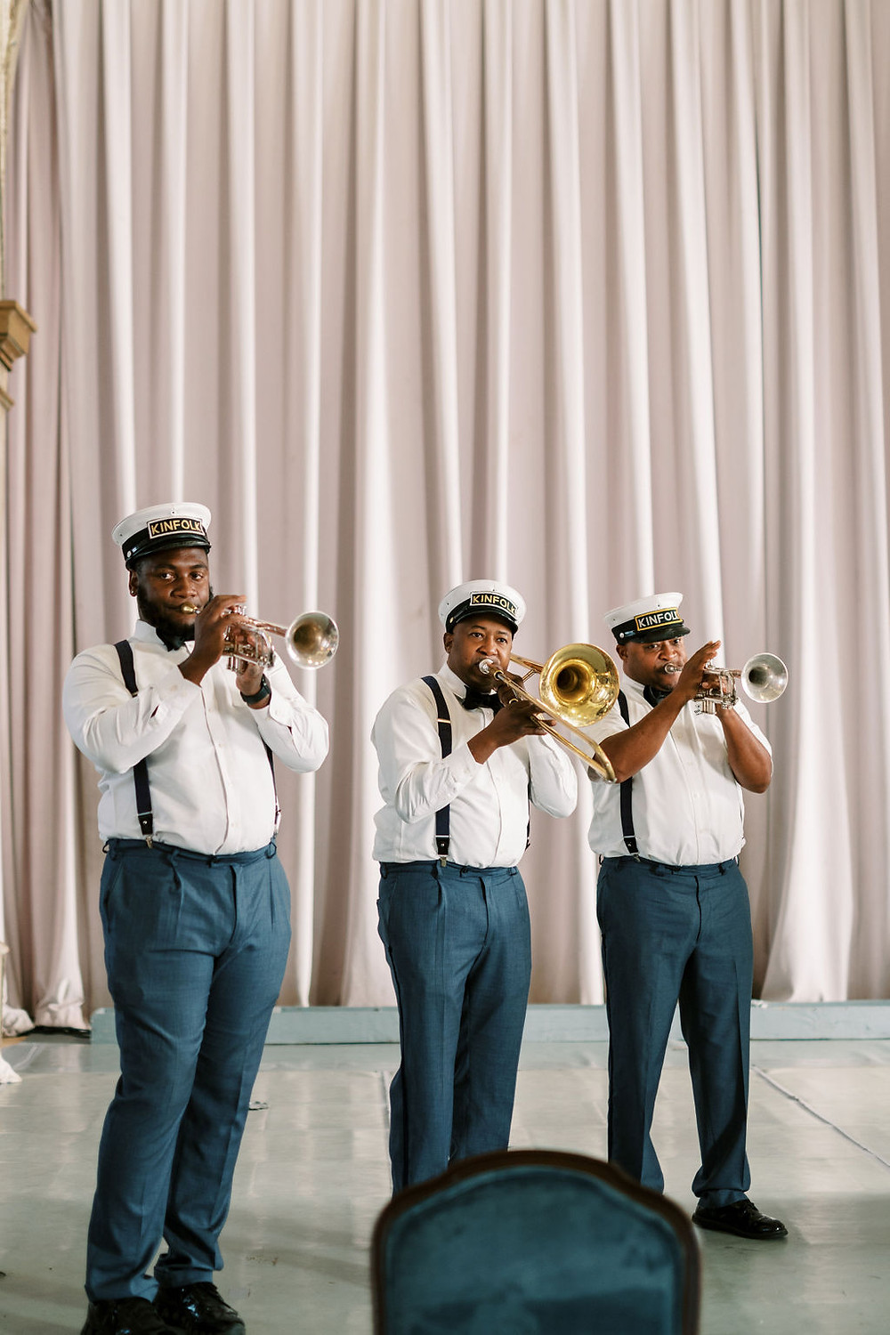 Second Line Band for Bridgerton Inspired Wedding at the Marigny Opera House in New Orleans with Lounge Spaces and Vintage Furniture by Lovegood Rentals