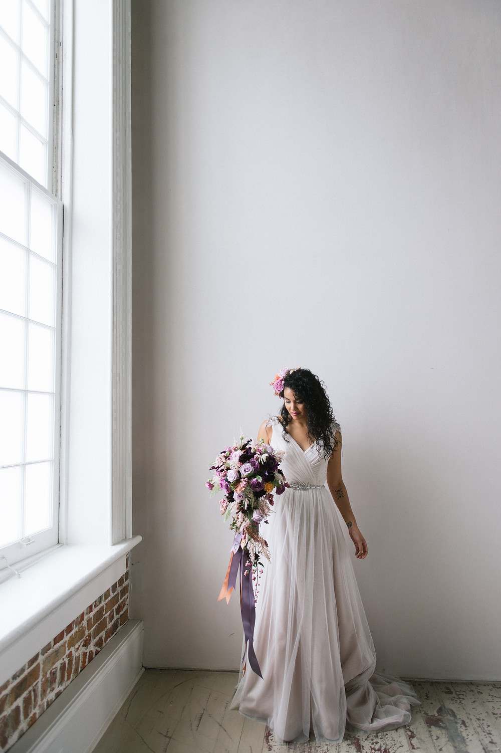 New Orleans' Purple & Copper Style Shoot with Lauren Carroll Photography, Weddings by LuLu, Bee's Wedding and Events Floral Designs, Felicity Church, and Lovegood Wedding & Event Rentals