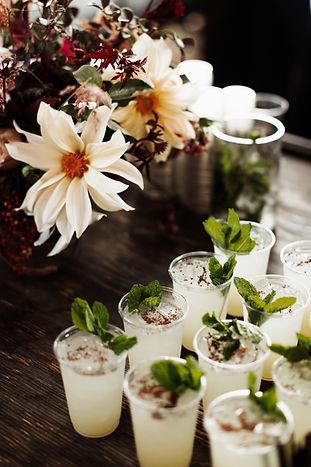 Wooden Bar, Drinks with Mint, Floral Arrangement