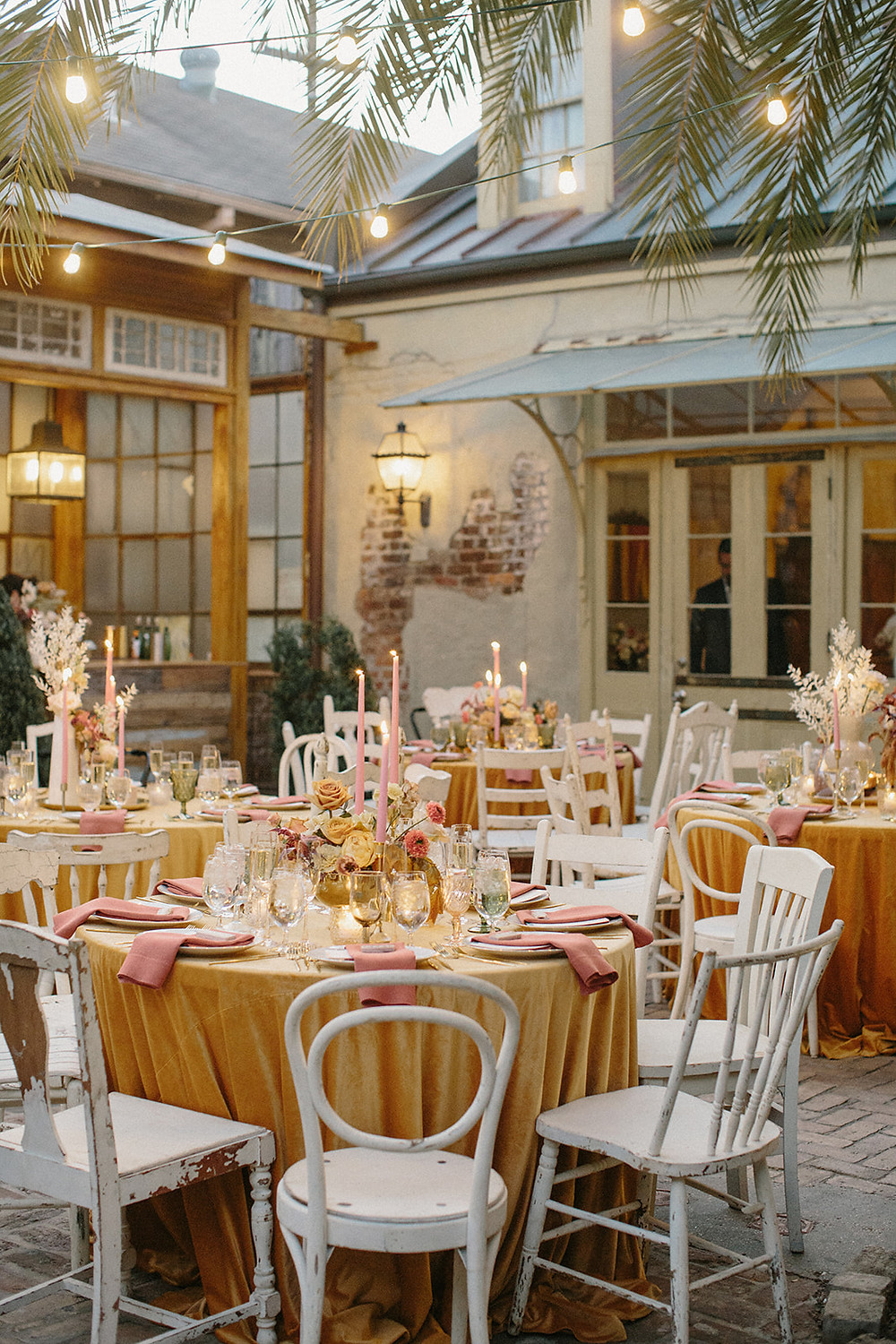 Race & Religious Wedding in New Orleans with Yellow, Pink, and Green Palette with Lovegood Rentals | Race & Religious Wedding in New Orleans with Yellow, Pink, and Green Palette with Lovegood Rentals | Classic Farm Tables, Mismatched Chairs