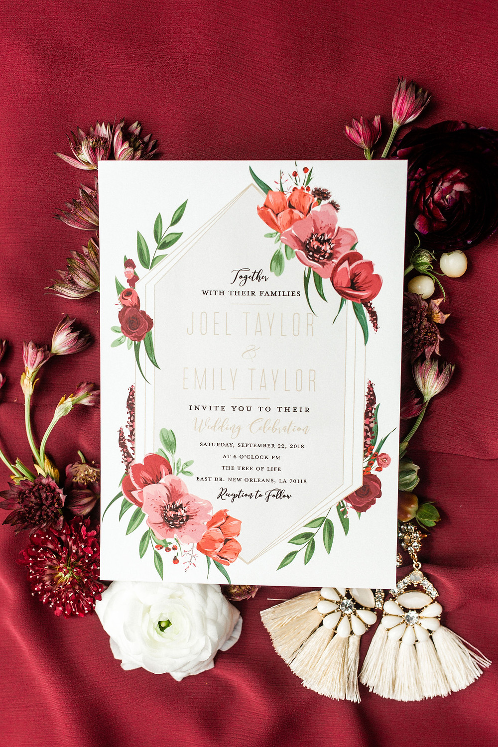 Chicory Wedding in New Orleans with Tasha Rae Photography, Mise En Place Events, Lovegood Wedding & Event Rentals | Cranberry Wedding, Vintage Rentals, Lounge Space, Wooden Backdrop Arbor, Wooden Crates