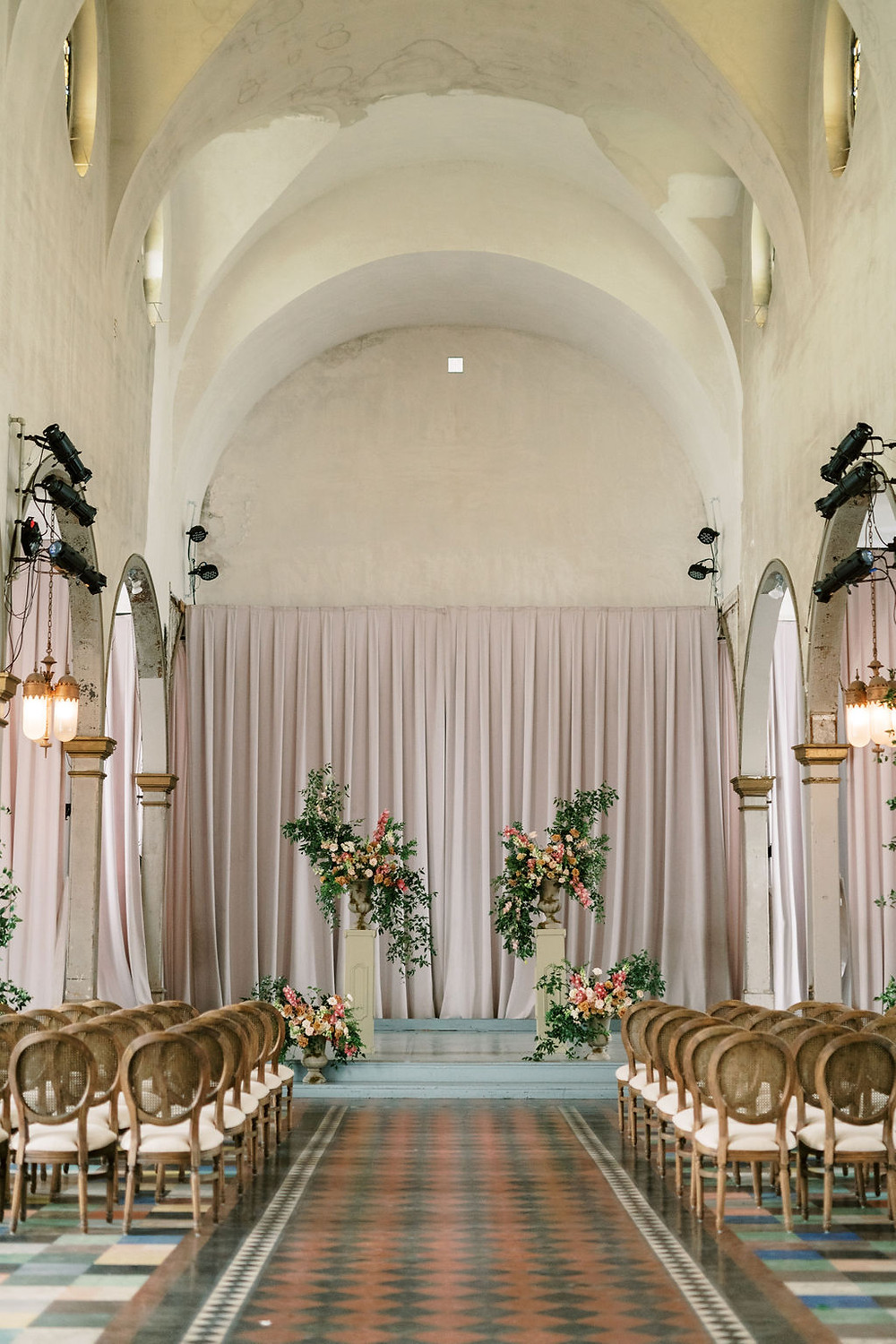 Bridgerton Inspired Ceremony at the Marigny Opera House in New Orleans with decor and furniture by Lovegood Rentals