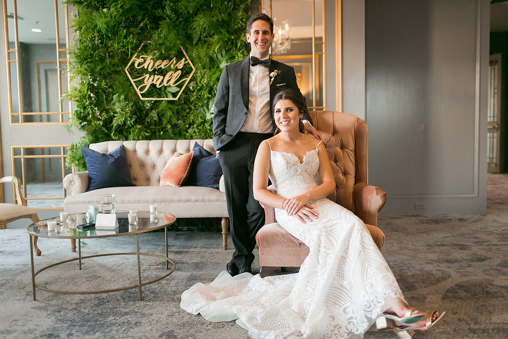 Windsor Court Wedding with New Orleans Traditions and Vintage Lounge Space from Lovegood Wedding & Event Rentals