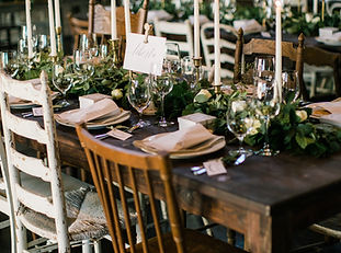 Mismatched Chairs, Wooden Mahogany Farm Tables, Candlesticks, Place Settings, Dinner Flatware