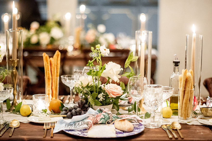 Il Mercato Seat Down Dinner with Florals, Cnadles, Glassware, Flatwear, Custom Linen Napkins, Wooden Farm Tables and Crossback Chairs with Lovegoo