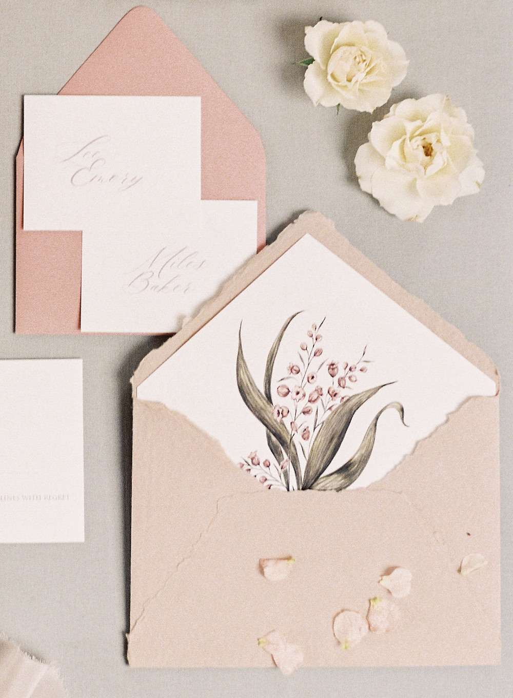Wedding Invitations and Papergoods for Bridgerton Inspired Wedding at the Marigny Opera House in New Orleans with Lounge Spaces and Vintage Furniture by Lovegood Rentals