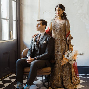 Seema & Sanjin | Civic Theatre in New Orleans Featuring Infused Boho Indian Flare, Dried Palm Ba