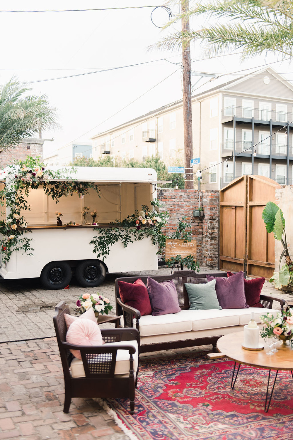 Gypsy, Mobile Bar from Lovegood Wedding & Event Rentals | Black Pearl Catering's Chef's Table X Gypsy Experience with Leaf + Petal NOLA, Race & Religious, and Chelsea Rousey Photography in New Orleans